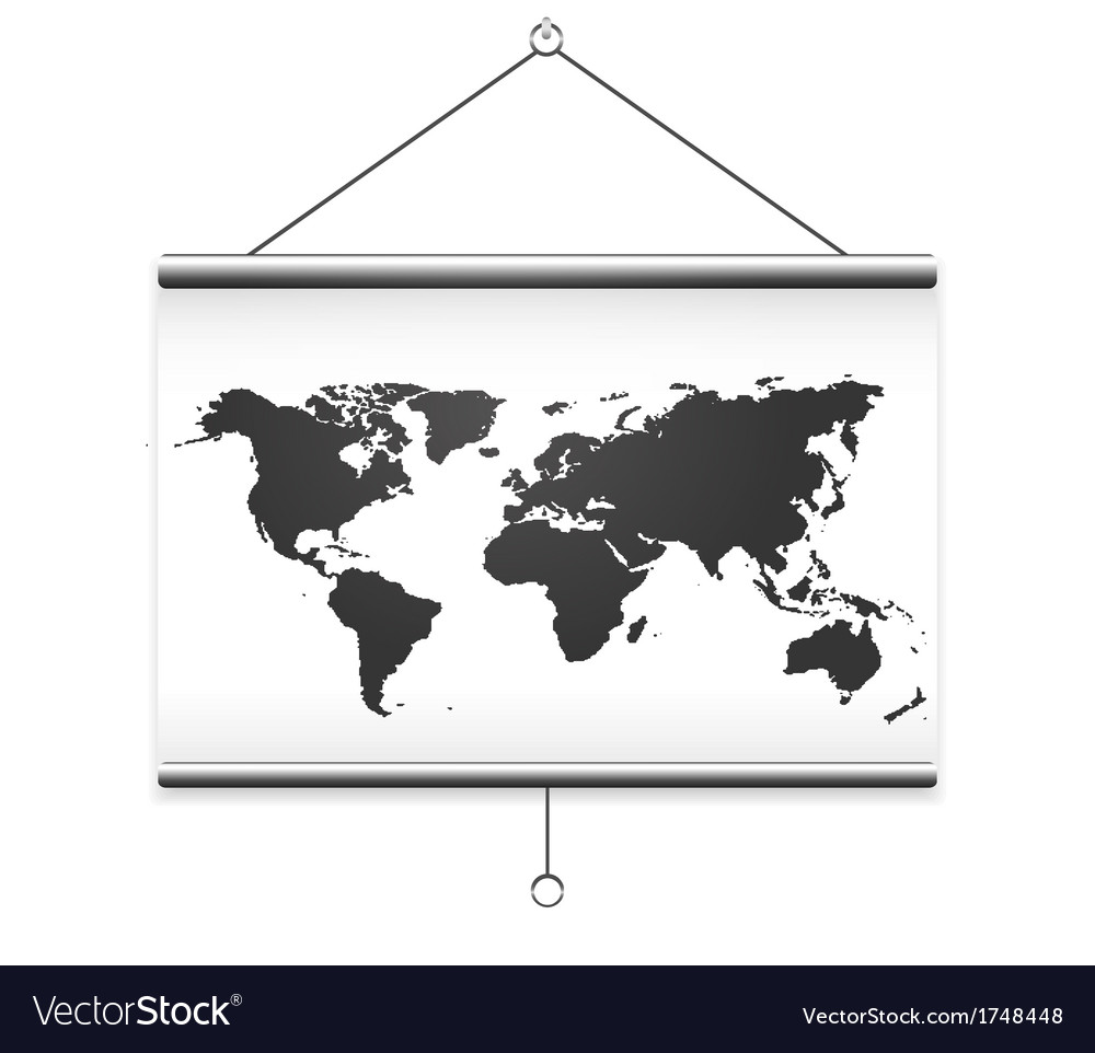 Projector screen map vector | Price: 1 Credit (USD $1)