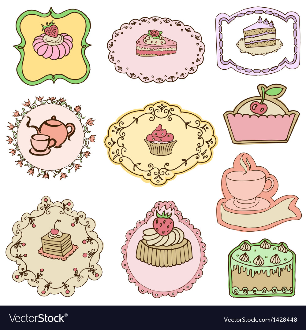 Set of cute cake tags vector | Price: 3 Credit (USD $3)
