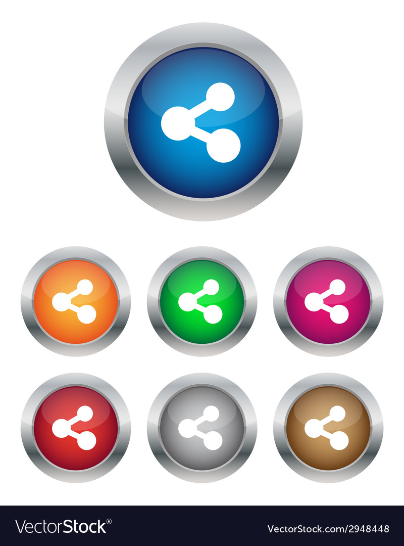 Share buttons vector | Price: 1 Credit (USD $1)