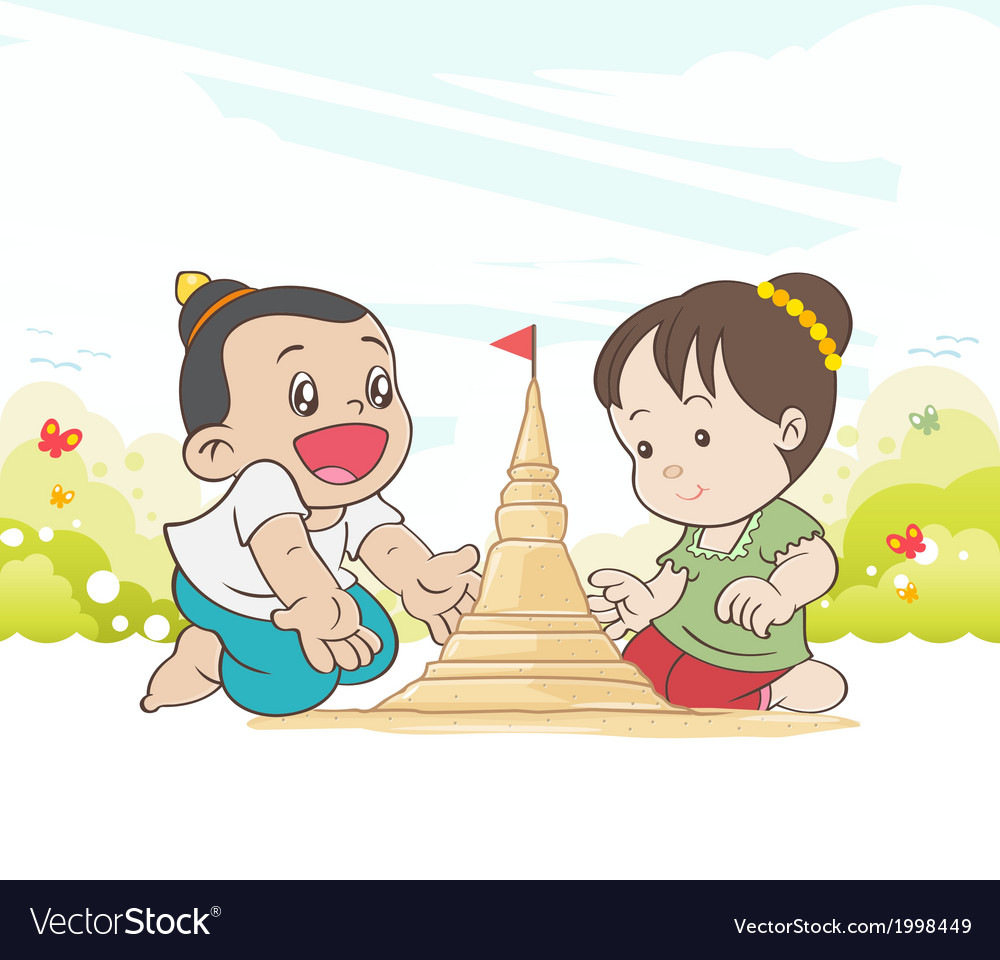 Asia children enjoying building sand vector | Price: 1 Credit (USD $1)