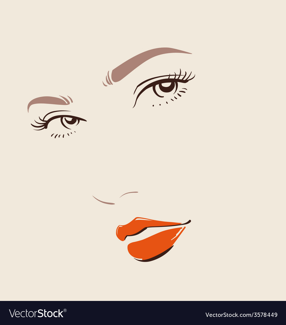 Beautiful woman face with red lips make up vector | Price: 1 Credit (USD $1)
