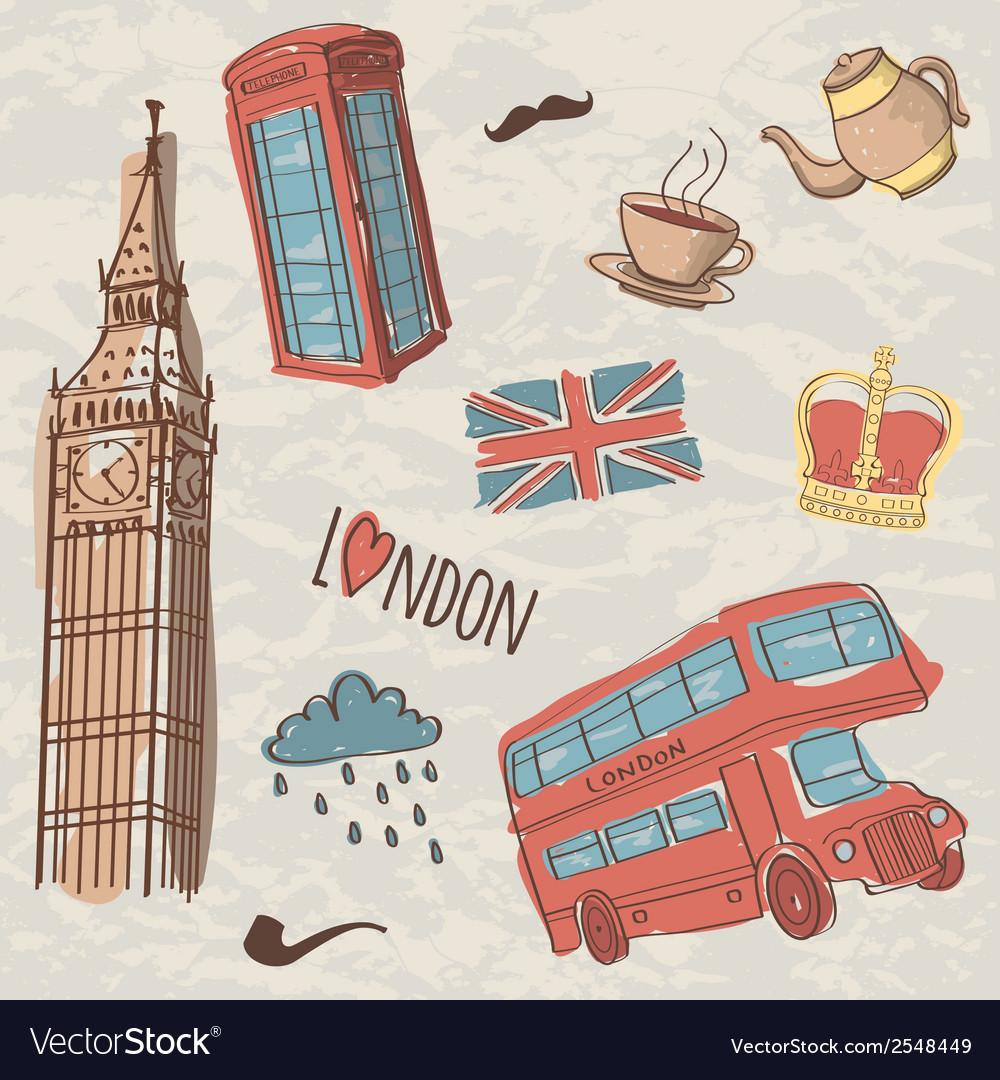 Colorful set of hand-drawn london symbols vector   Price: 1 Credit (USD $1)