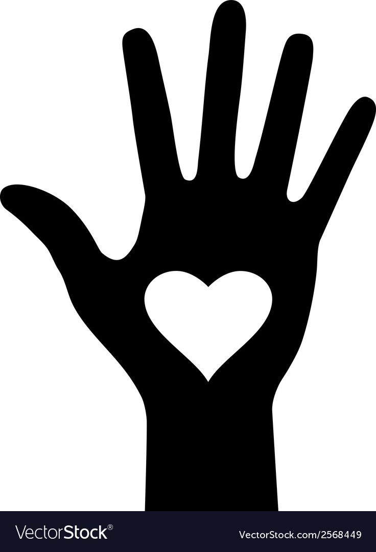 Hand with heart icon for your design vector | Price: 1 Credit (USD $1)