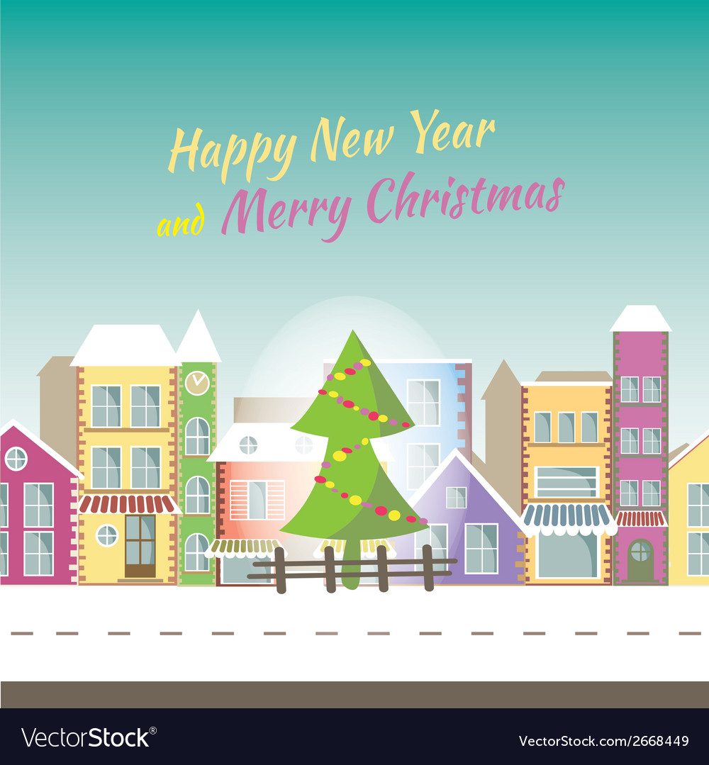 Happy new year greeting card -banner with small vector | Price: 1 Credit (USD $1)