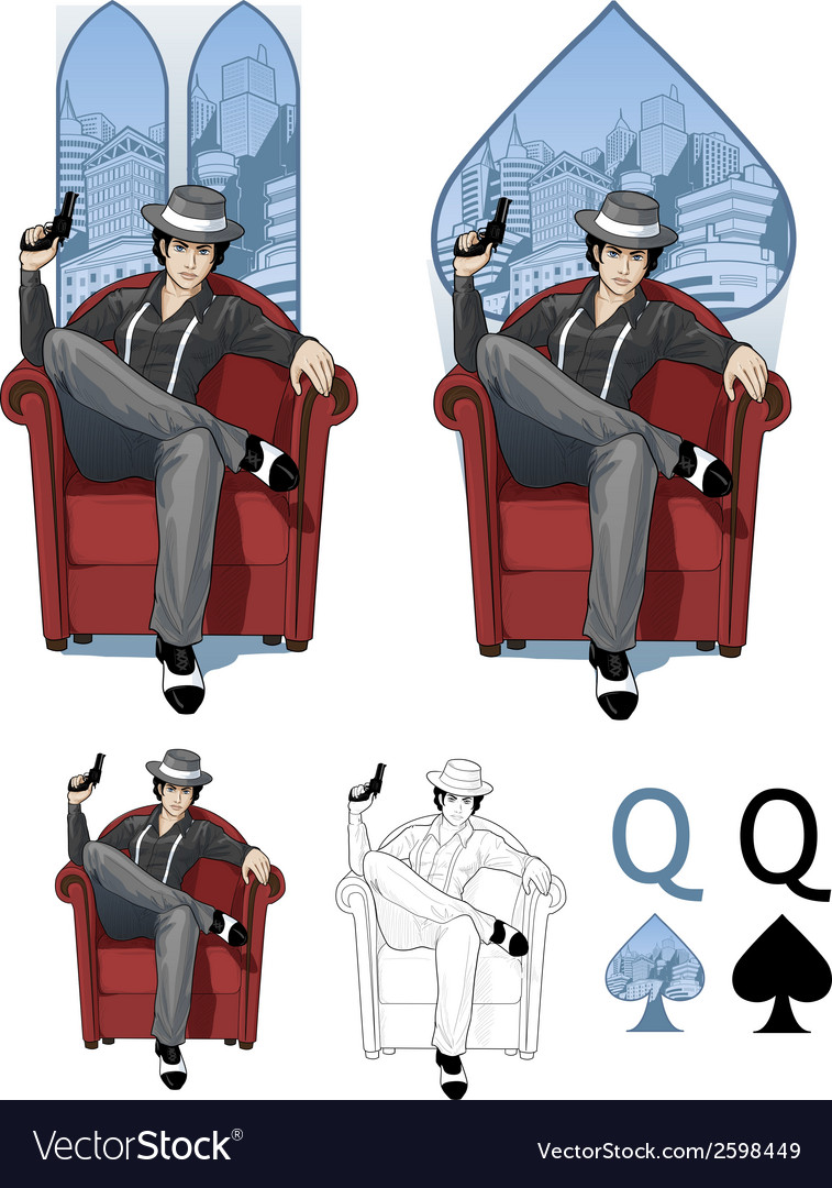 Queen of spades mafia card set vector | Price: 3 Credit (USD $3)