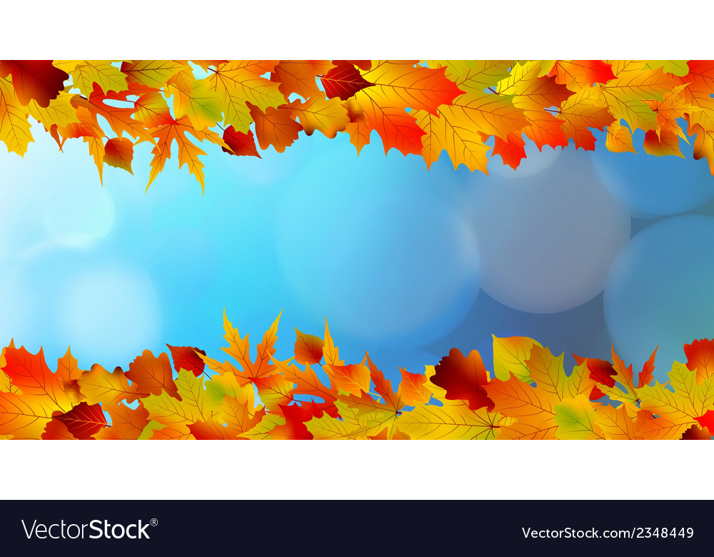 Red and yellow leaves against a bright blue sky vector | Price: 1 Credit (USD $1)