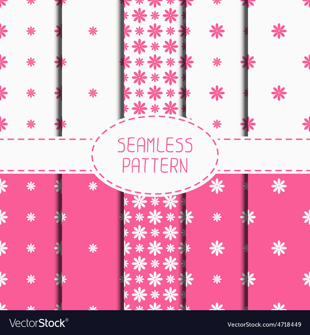 Set of pink geometric floral seamless pattern with vector | Price: 1 Credit (USD $1)