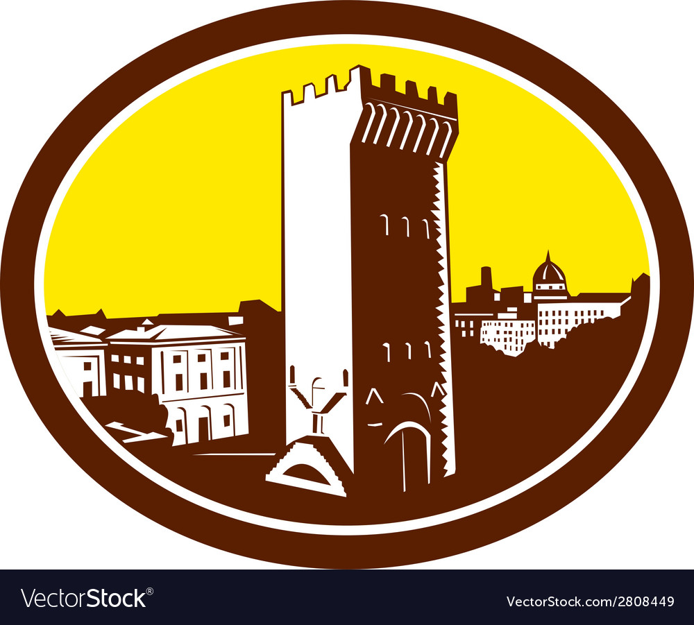 Tower of san niccolo florence woodcut vector | Price: 1 Credit (USD $1)