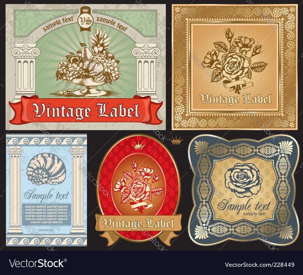 Vintage label set vector | Price: 3 Credit (USD $3)