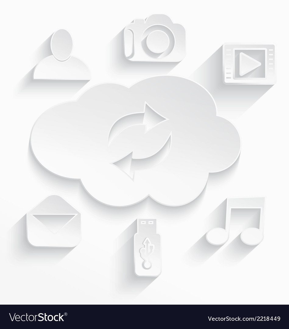 White cloud computing symbols arrows cut vector | Price: 1 Credit (USD $1)