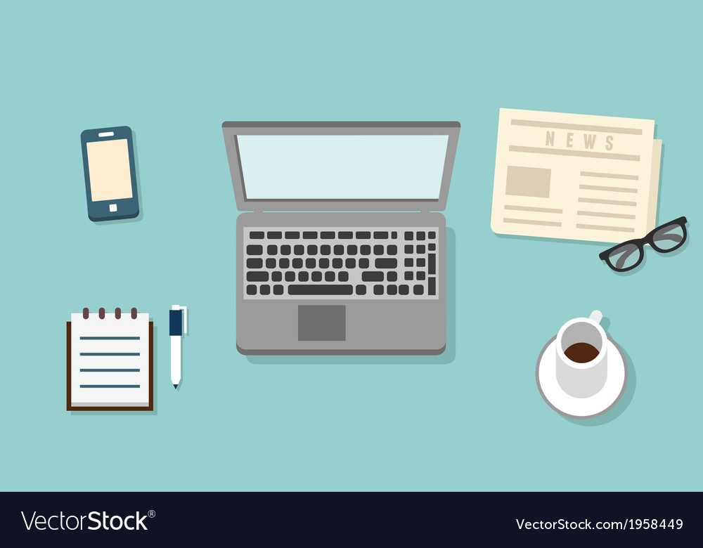 Workplace of businessman with mobile devices vector   Price: 1 Credit (USD $1)
