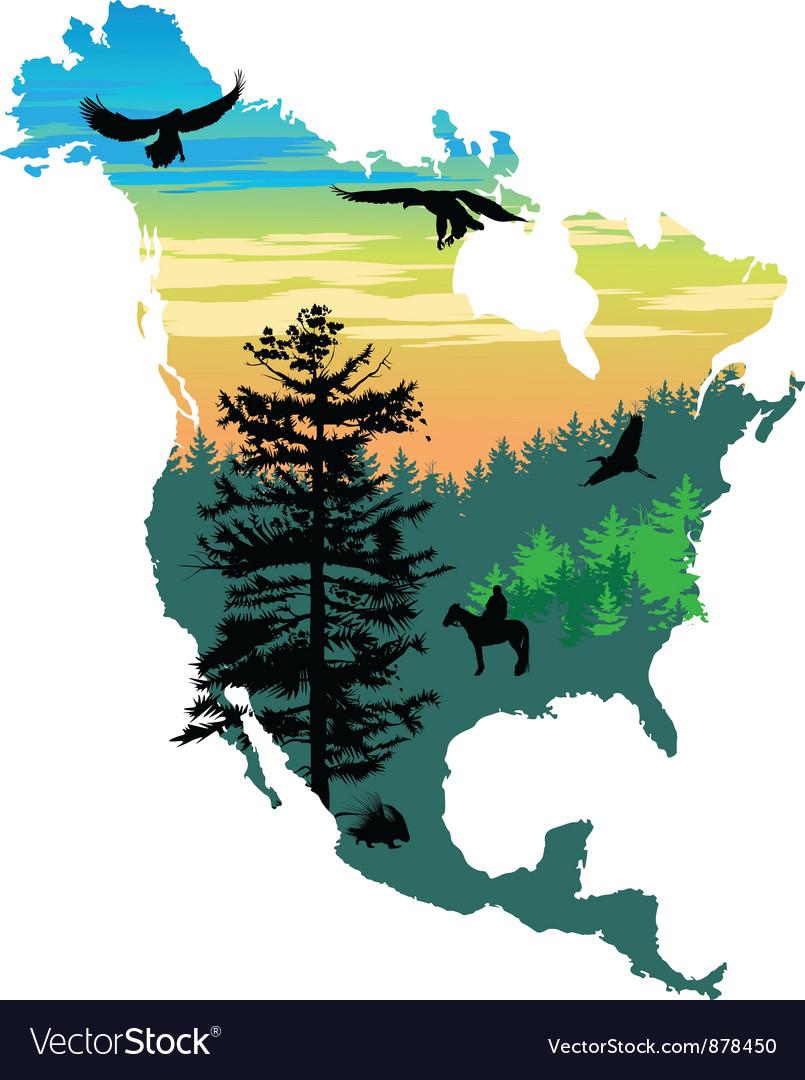 American wildlife map vector | Price: 1 Credit (USD $1)