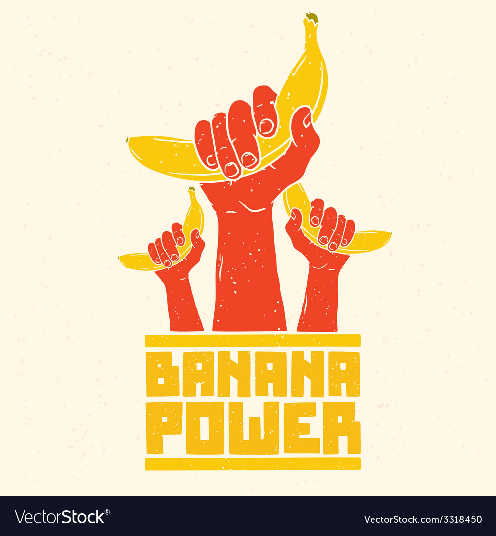 Banana power isolated poster vector | Price: 1 Credit (USD $1)