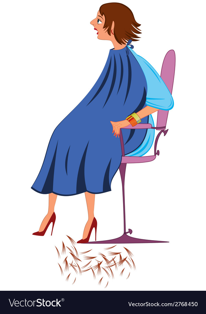 Cartoon woman in blue robe with new haircut vector | Price: 1 Credit (USD $1)