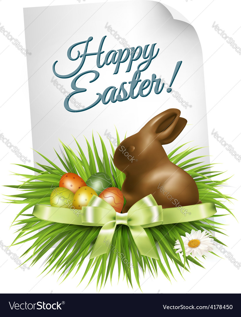 Happy easter background colorful easter eggs and vector | Price: 3 Credit (USD $3)