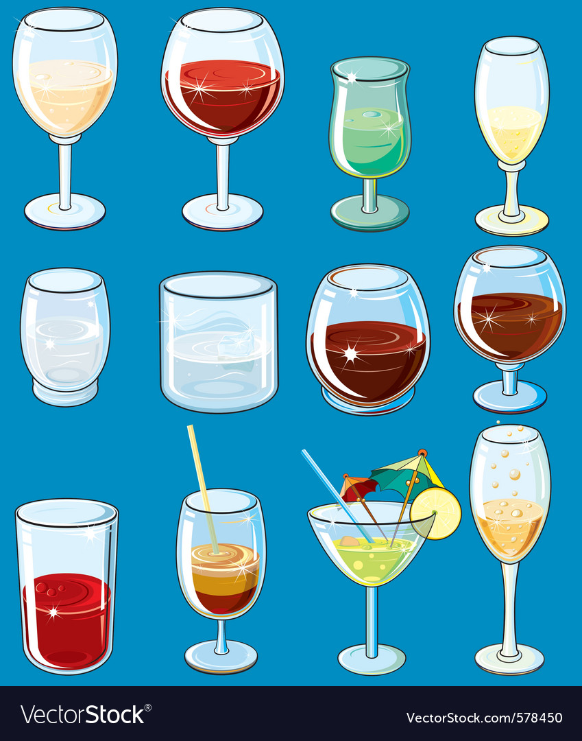 Icons with alcohol beverages and drinks vector | Price: 1 Credit (USD $1)