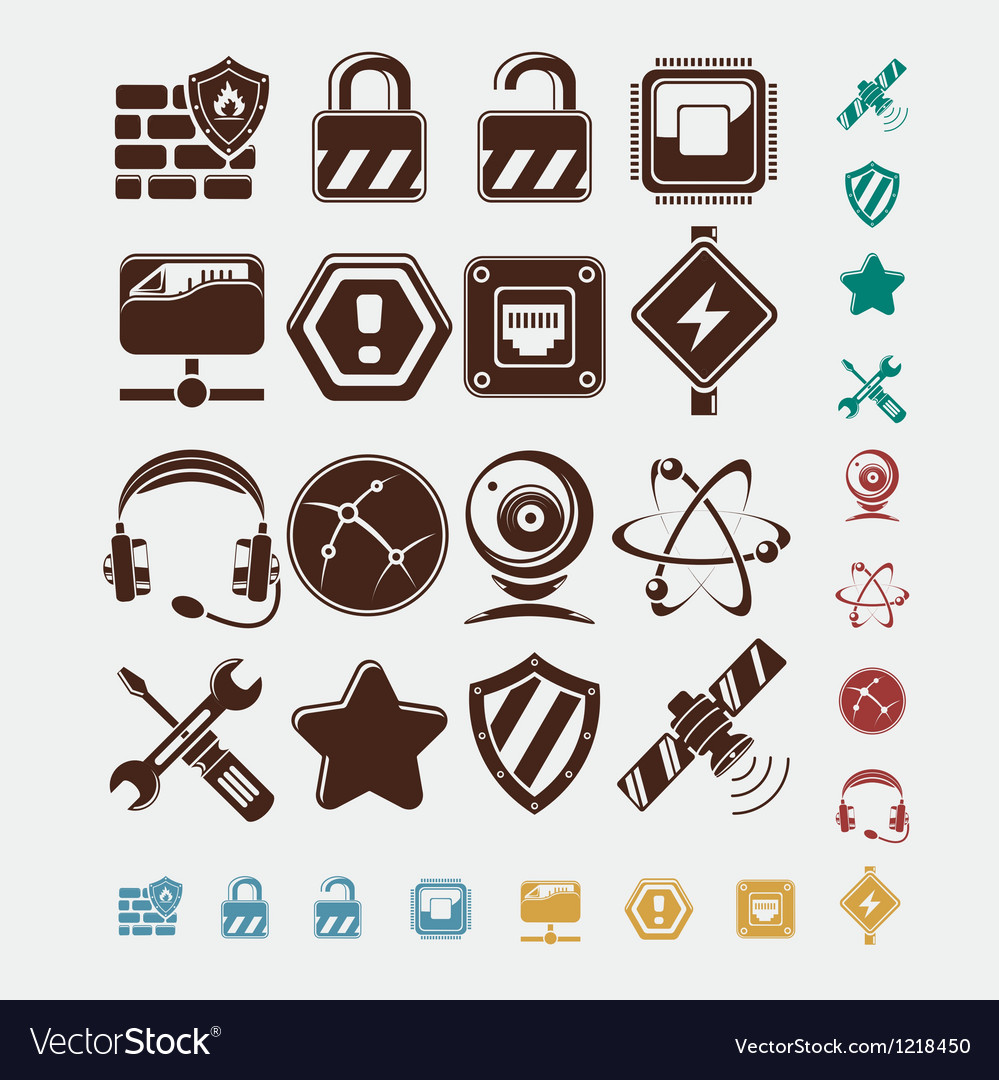 Network icons set vector | Price: 1 Credit (USD $1)
