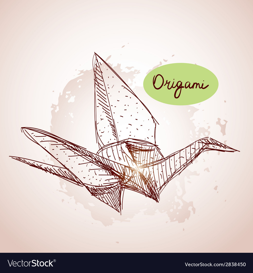 Origami paper cranes sketch line on beige vector | Price: 1 Credit (USD $1)