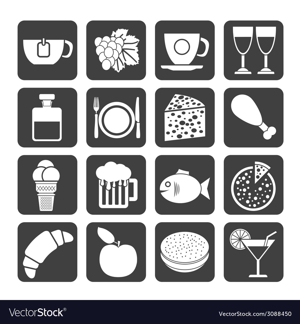 Silhouette food and beverage icons vector | Price: 1 Credit (USD $1)