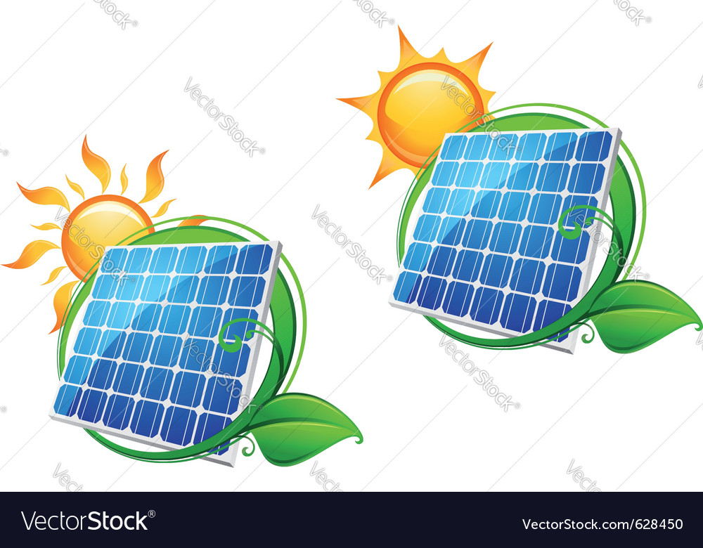 Solar energy panels vector | Price: 1 Credit (USD $1)