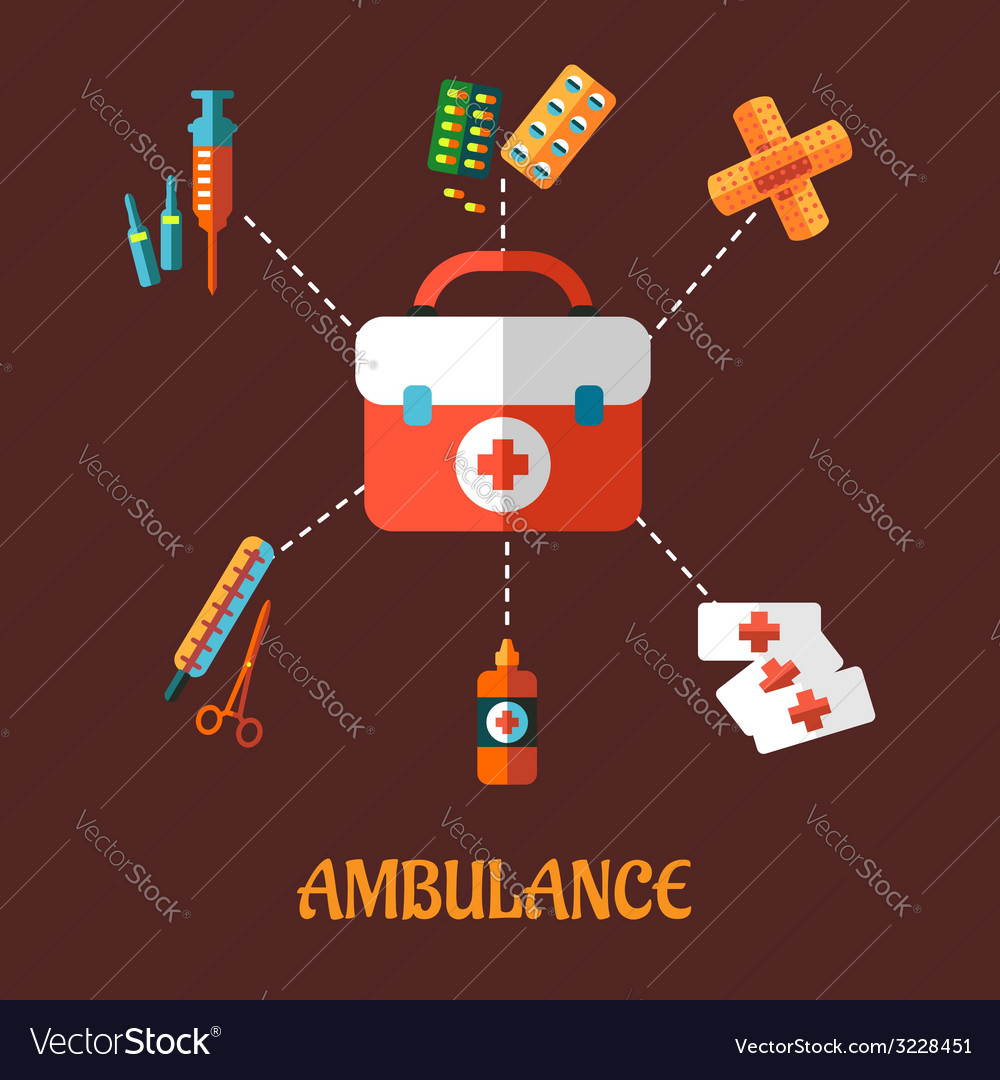 Ambulance icons flat concept vector | Price: 1 Credit (USD $1)