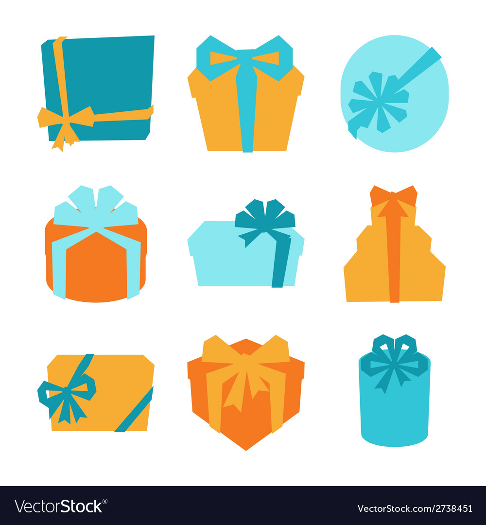 Celebration icon set of colorful gift boxes vector | Price: 1 Credit (USD $1)