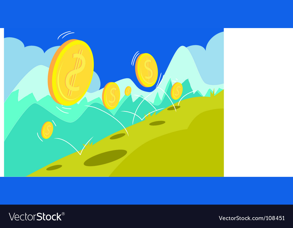 Coin-down-hill vector | Price: 1 Credit (USD $1)