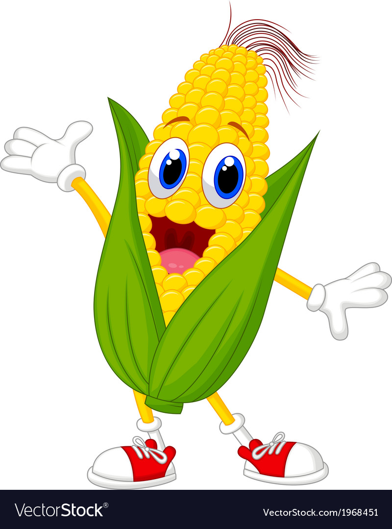 Cute corn cartoon character vector | Price: 1 Credit (USD $1)