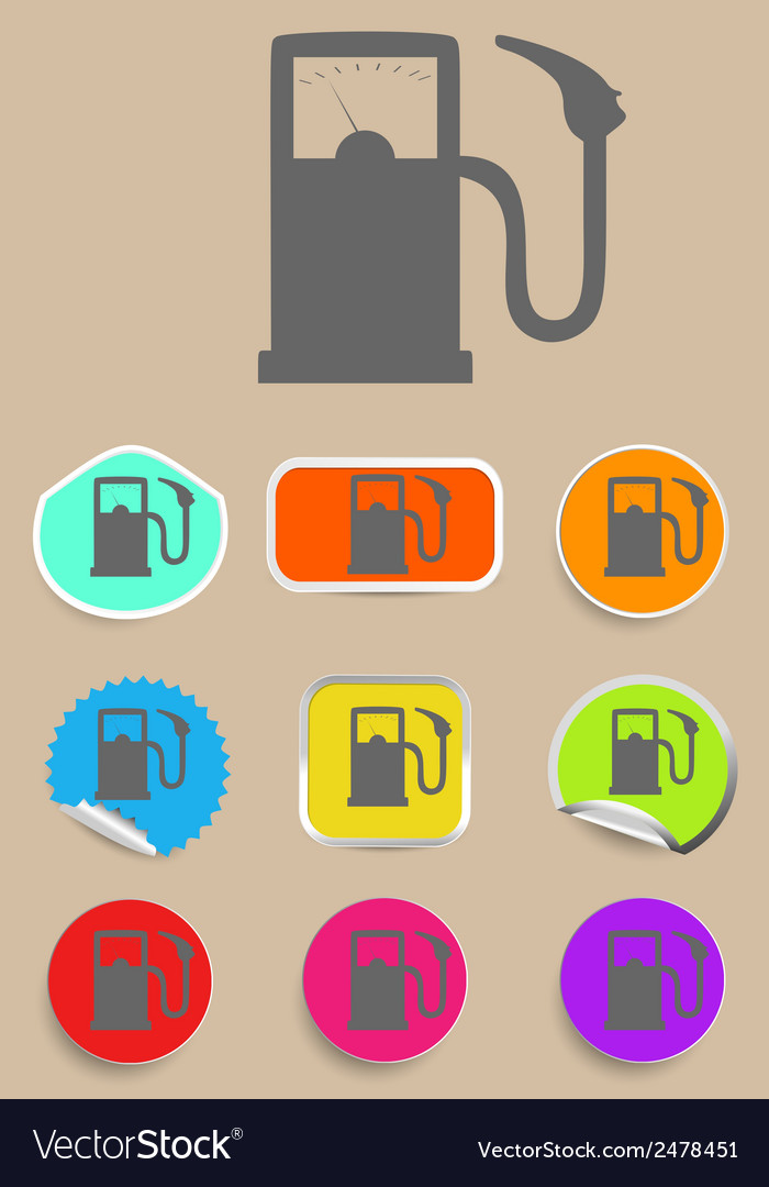 Gas station fuel pump black icon set vector | Price: 1 Credit (USD $1)