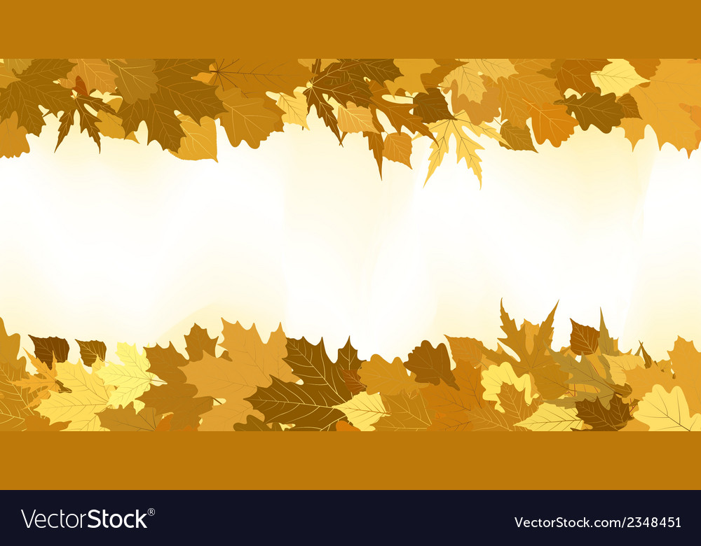 Golden autumn border made from leaves eps 8 vector | Price: 1 Credit (USD $1)