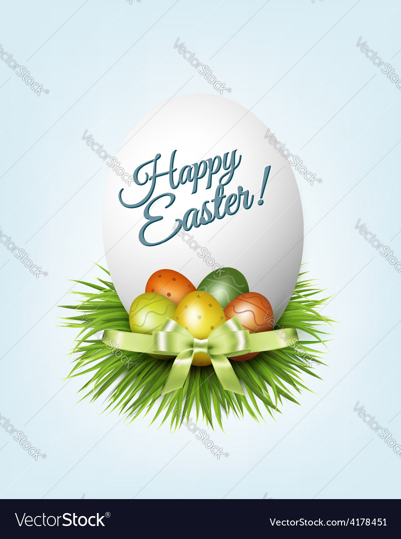 Happy easter background colorful easter eggs on vector | Price: 3 Credit (USD $3)