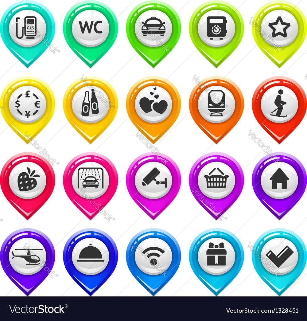 Map marker with icons-set three vector | Price: 1 Credit (USD $1)