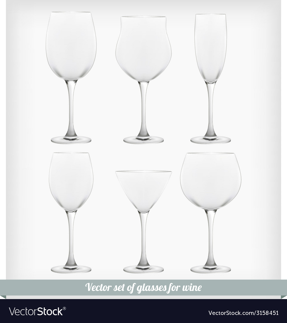 Set glass wine vector | Price: 1 Credit (USD $1)