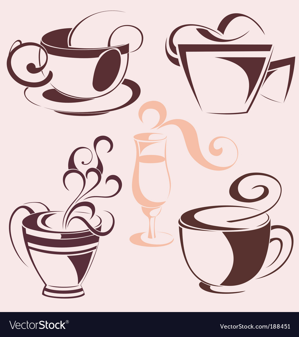 Set of coffee cups vector   Price: 1 Credit (USD $1)
