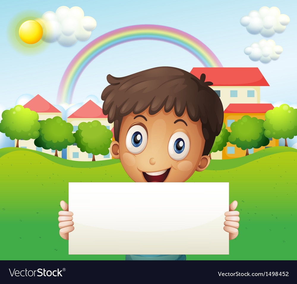 A smiling boy holding an empty cardboard vector | Price: 1 Credit (USD $1)