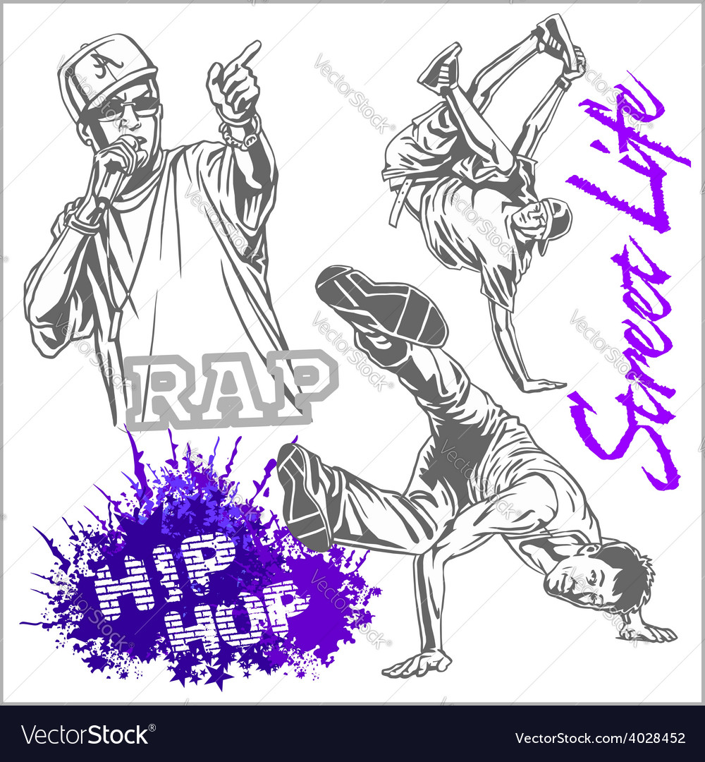 Hip hop dancer on white background vector | Price: 3 Credit (USD $3)