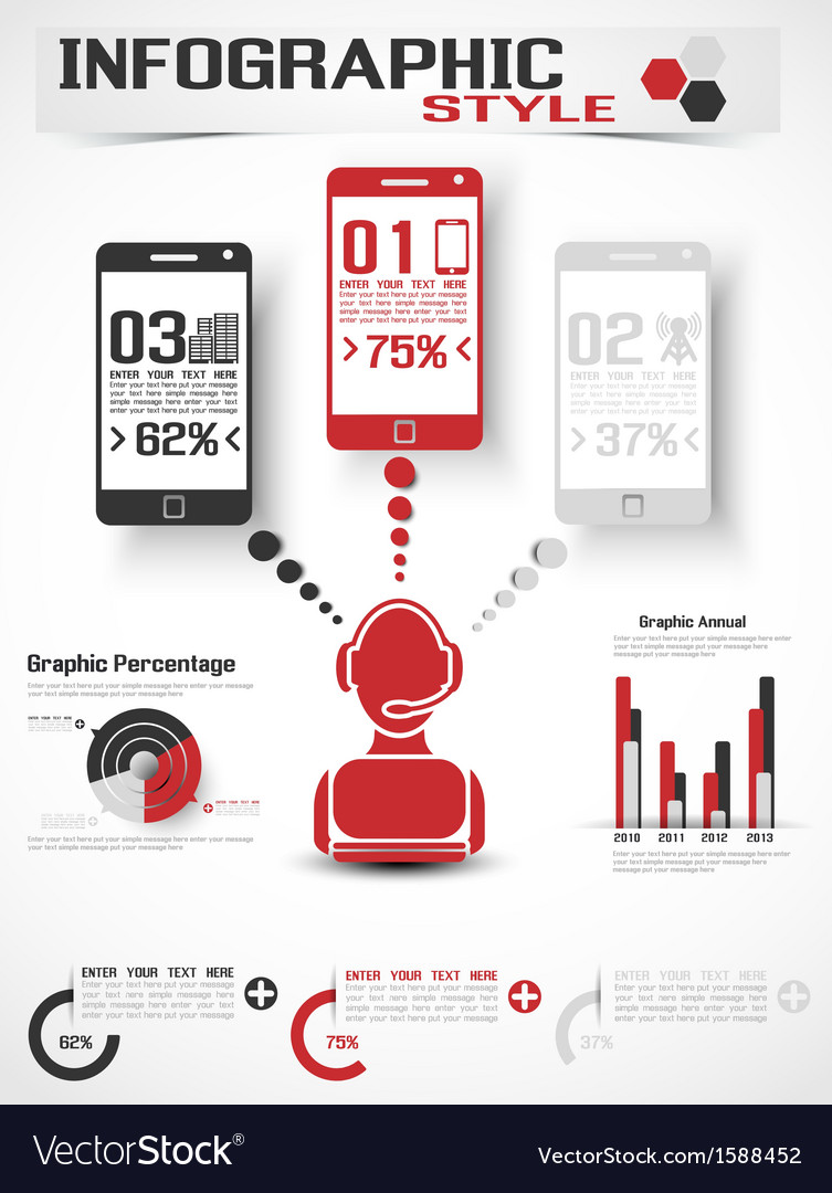Infographic modern style mobile vector | Price: 1 Credit (USD $1)
