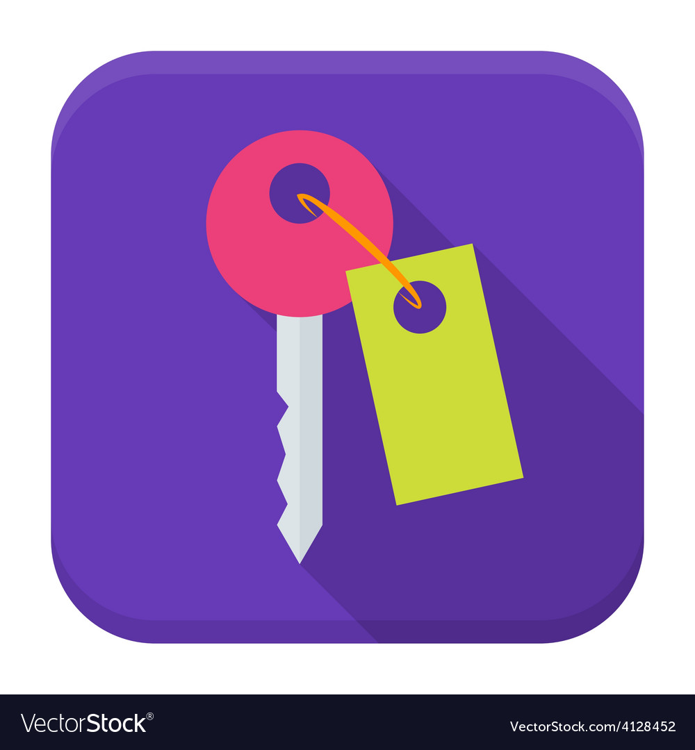 Key app icon with long shadow vector | Price: 1 Credit (USD $1)