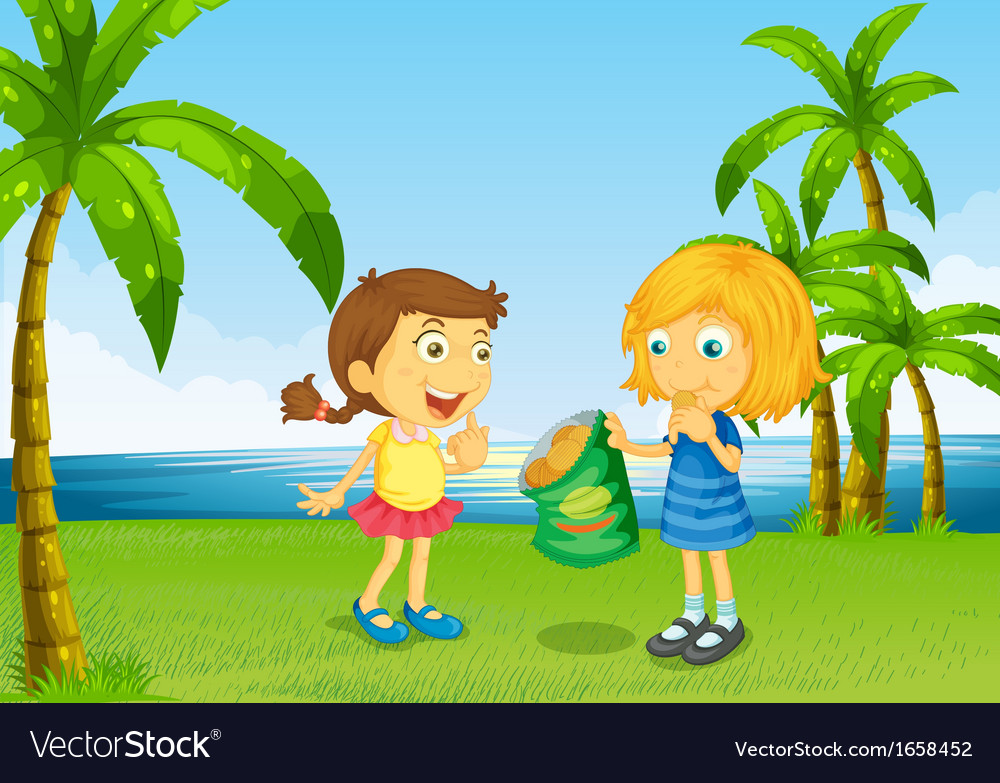 Kids eating chips at the river vector | Price: 3 Credit (USD $3)