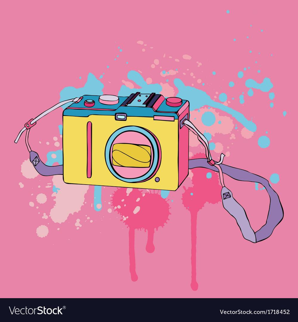 Photo camera hand drawn vector | Price: 1 Credit (USD $1)