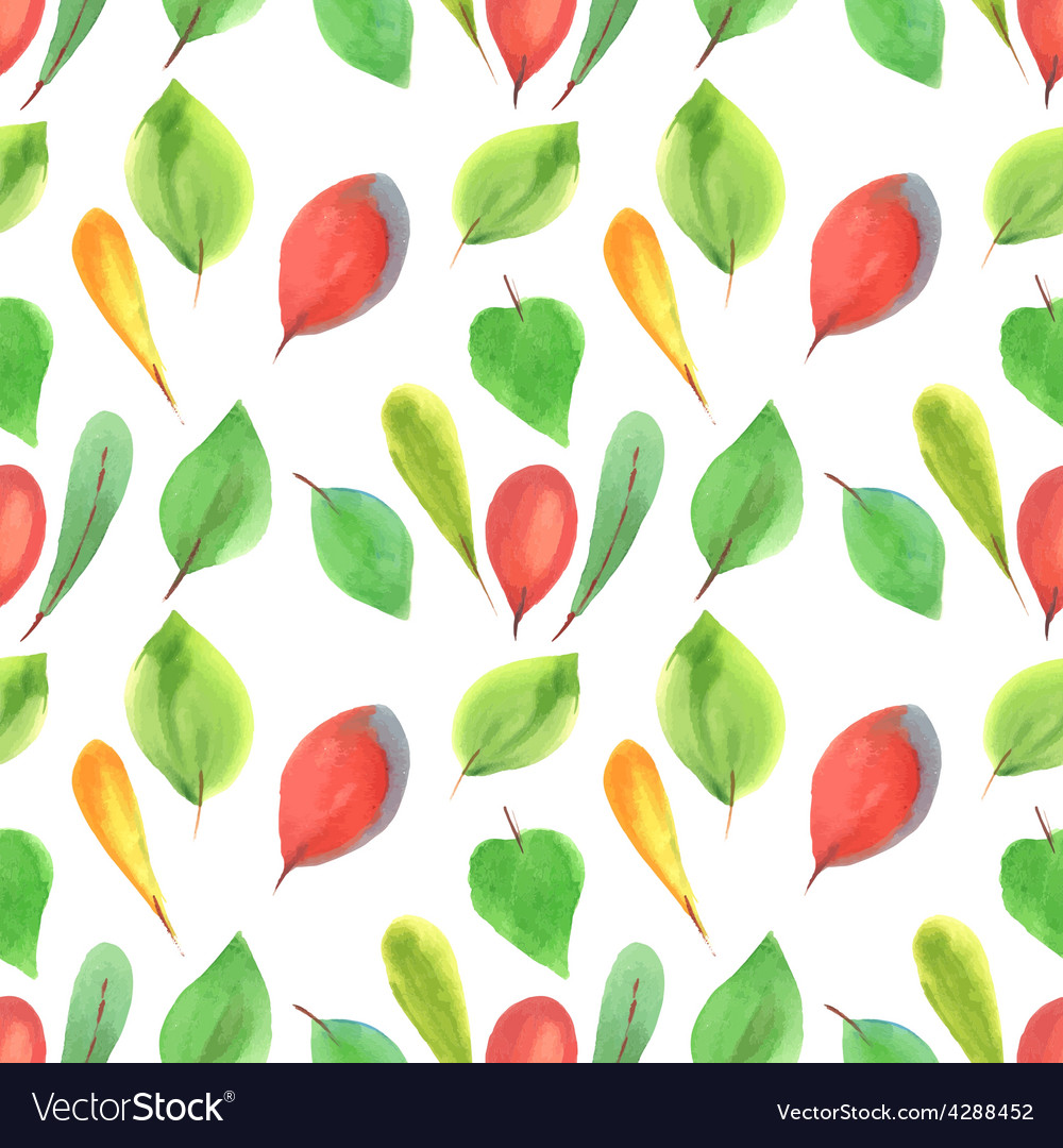 Seamless pattern of red and green leaves vector | Price: 1 Credit (USD $1)