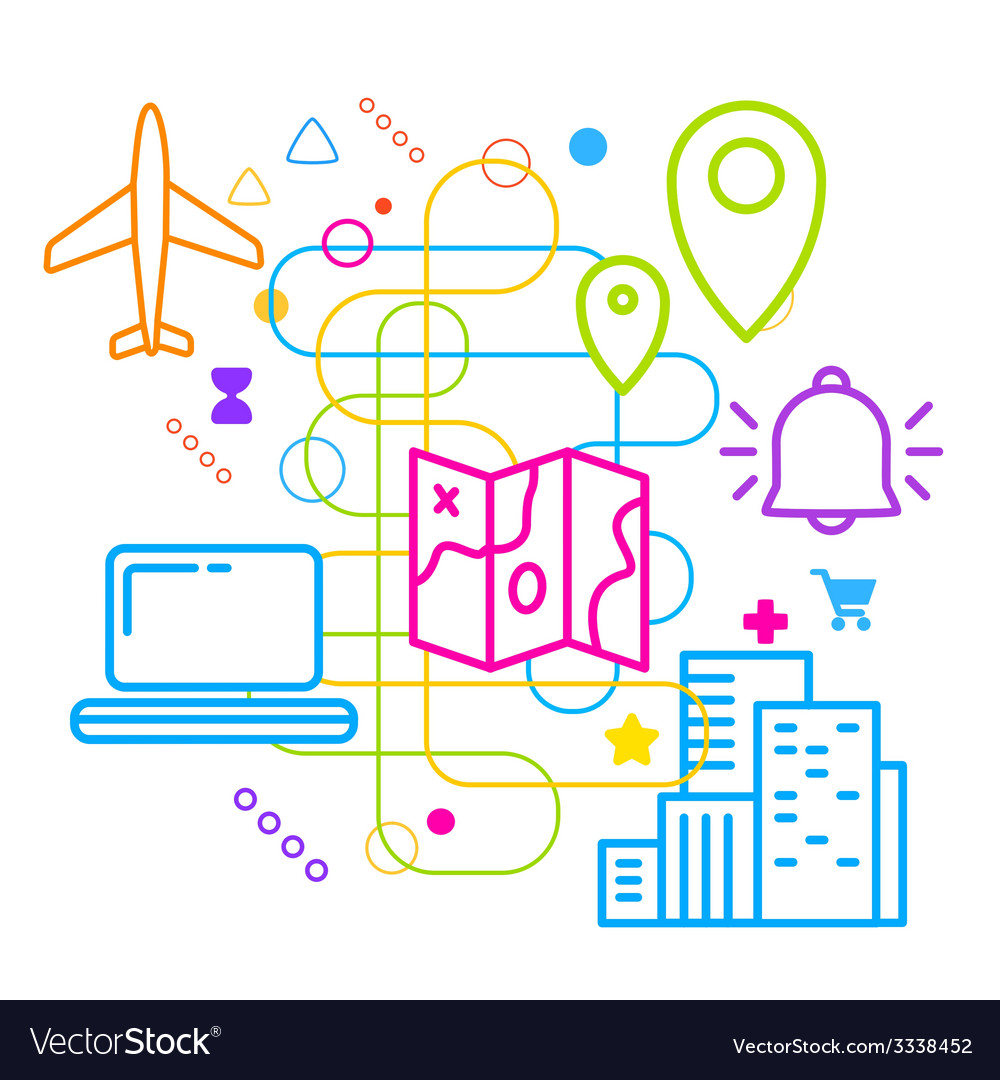 Symbols of traveling and navigation on abstract vector | Price: 3 Credit (USD $3)