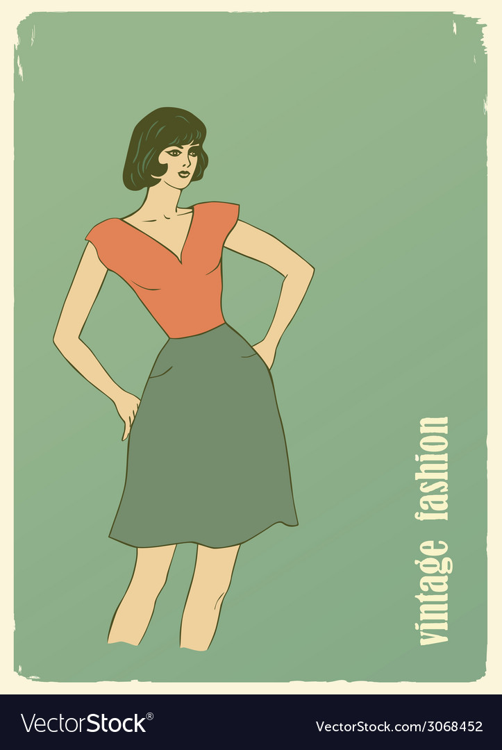 Vintage fashion vector | Price: 1 Credit (USD $1)