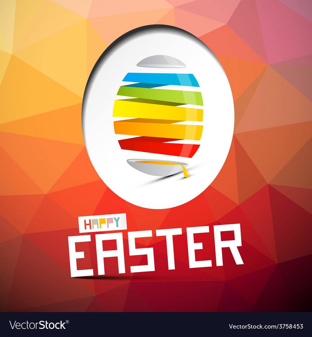 Happy easter with abstract colorful egg on t vector | Price: 1 Credit (USD $1)