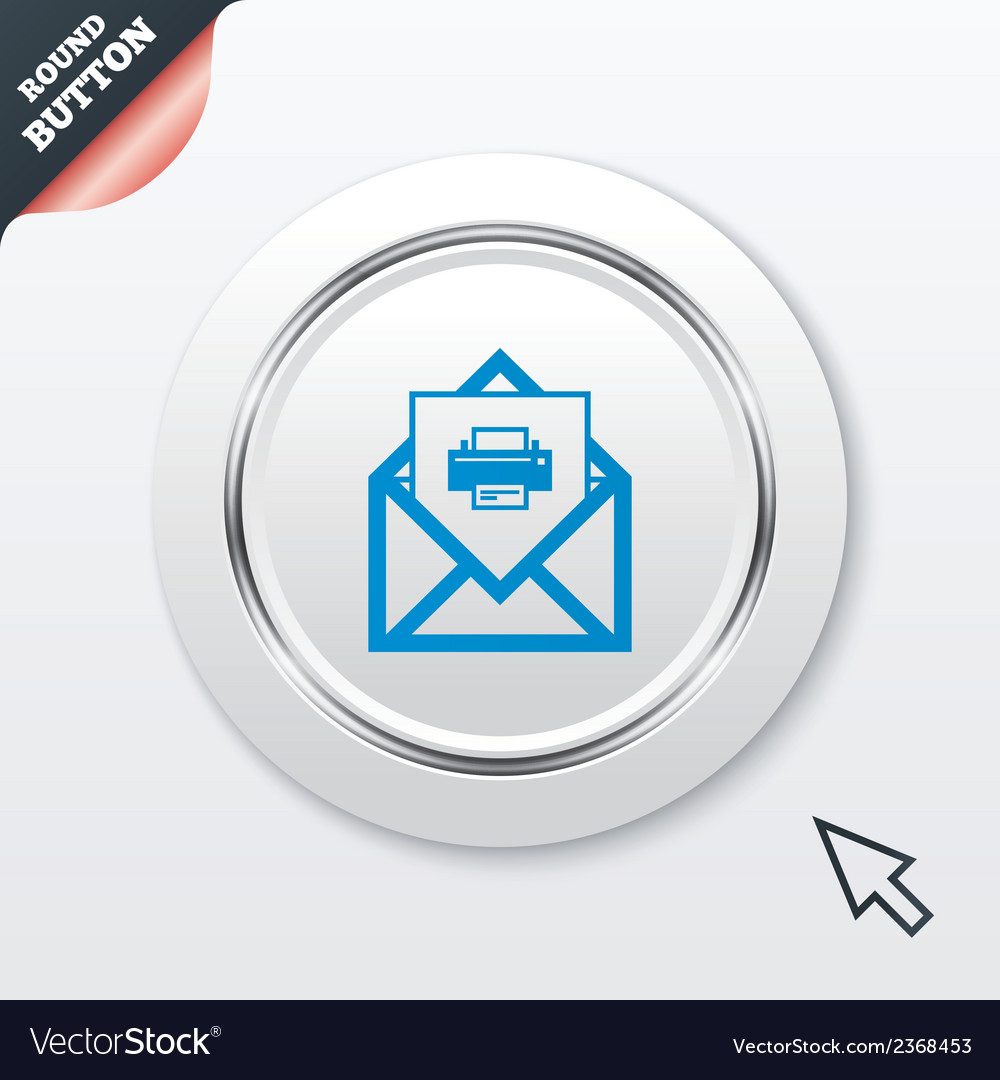 Mail print icon envelope symbol message sign vector | Price: 1 Credit (USD $1)