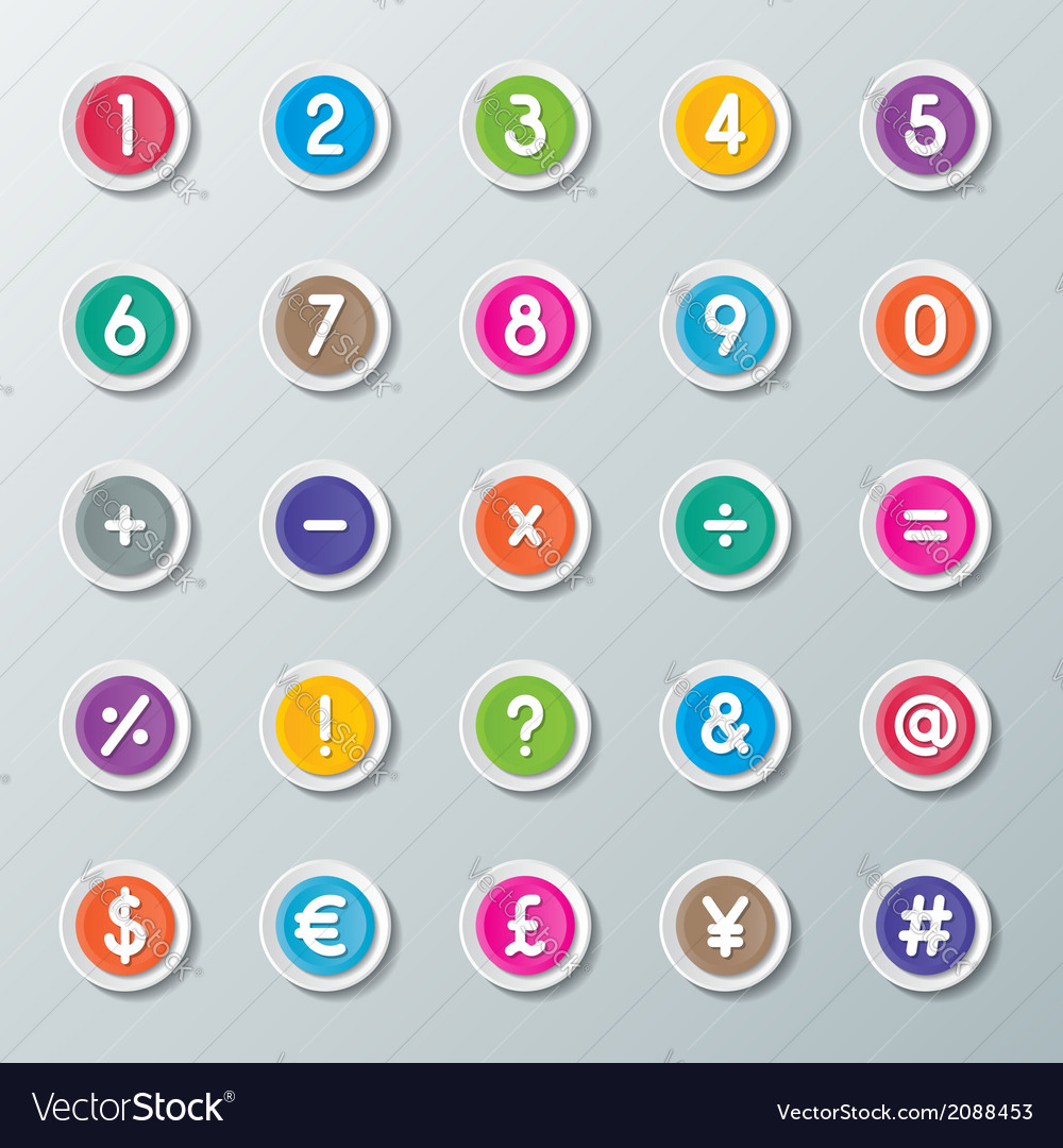 Numbers 0 to 9 and symbols vector | Price: 1 Credit (USD $1)