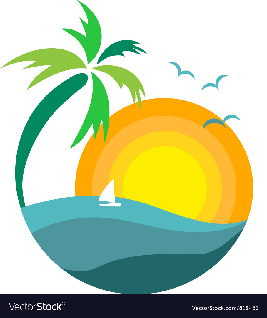 Palm tree with sunset vector | Price: 1 Credit (USD $1)
