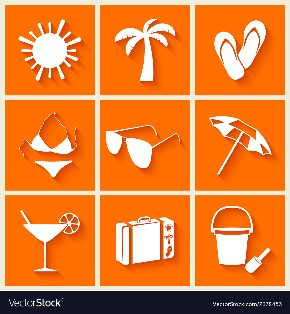 Summer and beach icons in flat style vector | Price: 1 Credit (USD $1)