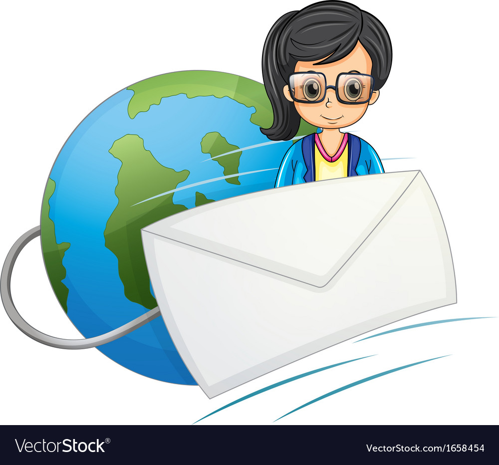 A smart-looking lady in the middle of the globe vector | Price: 3 Credit (USD $3)