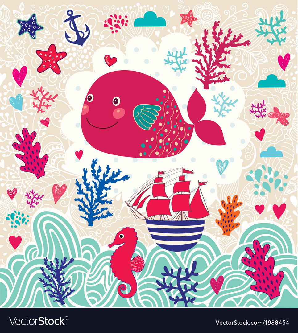 Artistic sealife background vector | Price: 1 Credit (USD $1)